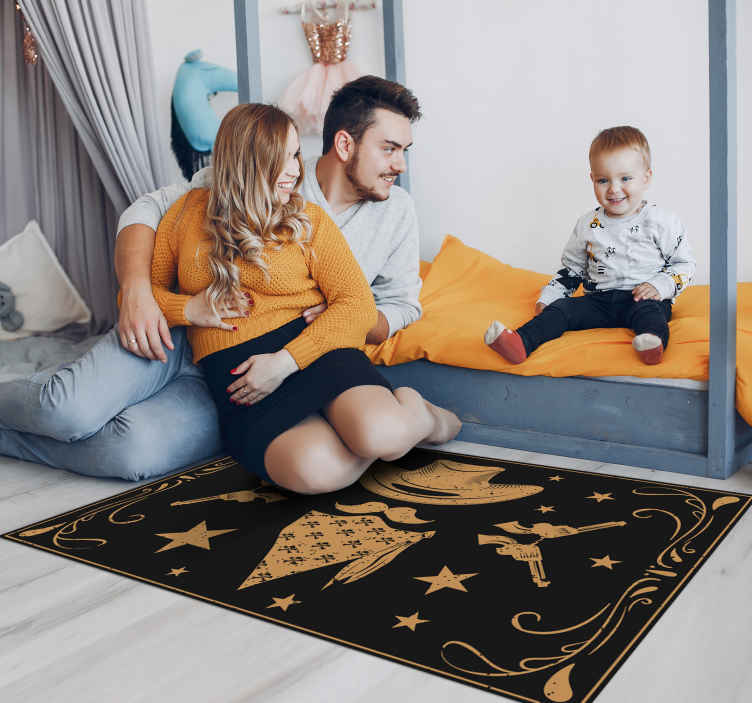 TenStickers. Cowboy hat flock and revolvers kids room vinyl rug. Navy blue vinyl carpetwith an exclusive cowboy featured design that would leave you loving whatever room you put. It is easy to maintain.