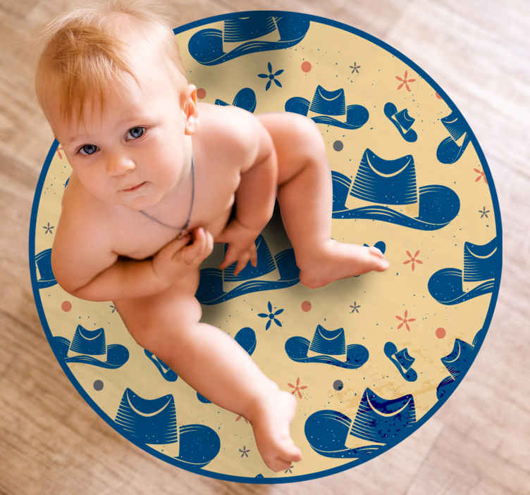 TenStickers. Cowboy hat kids room vinyl rug. Ideal vinyl rug design for kids to decorate their bedroom floor space. It is designed with cowboy's hats. The product is made of good quality.