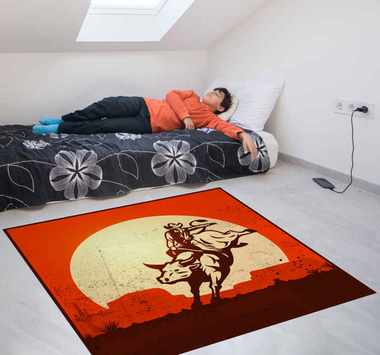 TenStickers. Cowboy riding a bull vintage vinyl carpet. Cowboy riding a bull vintage vinyl rugs to decorate any space in the home. It is made with high quality material and very easy to clean.