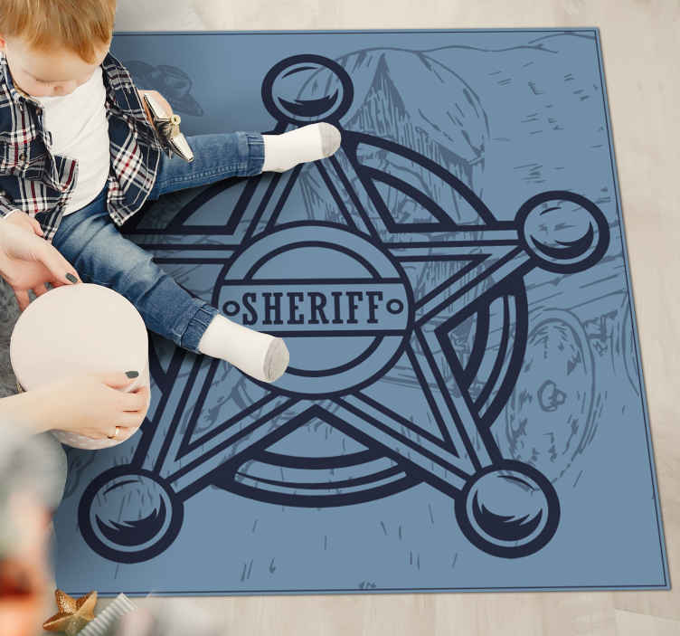 TenStickers. Cowboy star bedroom vinyl rug. An ideal navy colour vinyl rug suitable for any space.  It is designed with iconic badge of a sheriff. The product is of top quality.