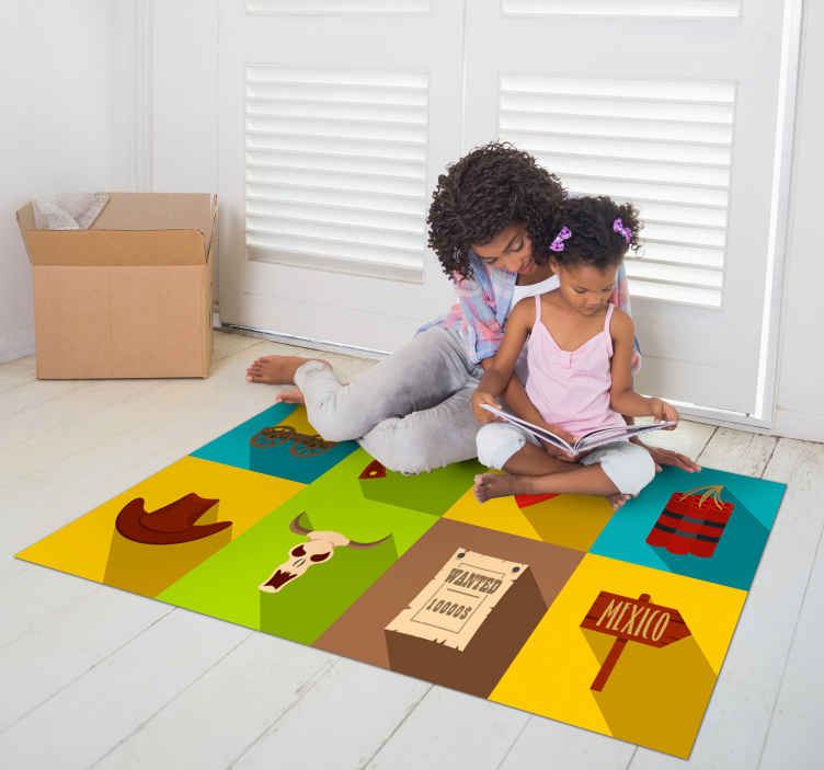 TenStickers. Cowboy tiles bedroom vinyl rug. Tiles vinyl for kids bedroom decoration. The design is featured with various elements that identifies a cowboy personality.