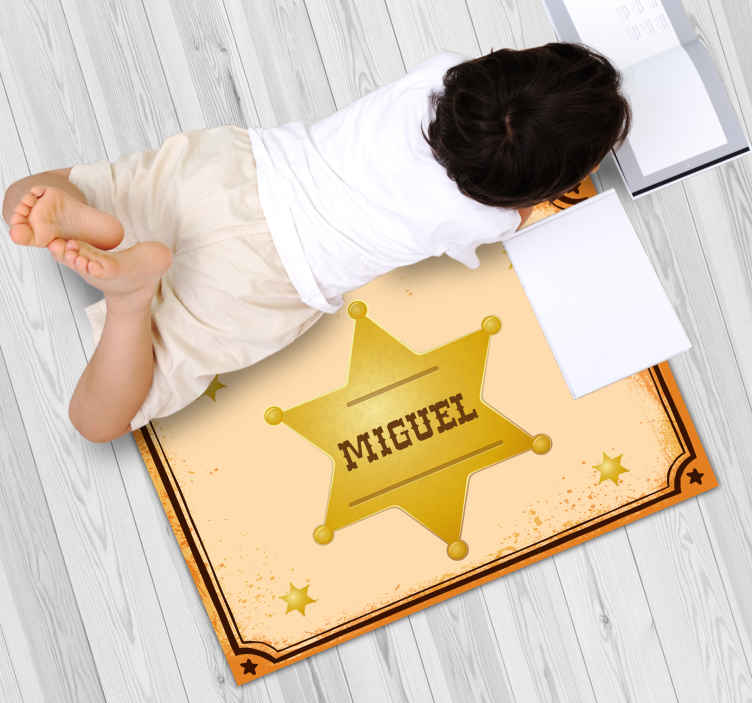 TenStickers. Sheriff Badge with name personalised vinyl rug. An amazing sheriff badge vinyl rug design with customisable name. The product is made with high quality and very easy to clean.