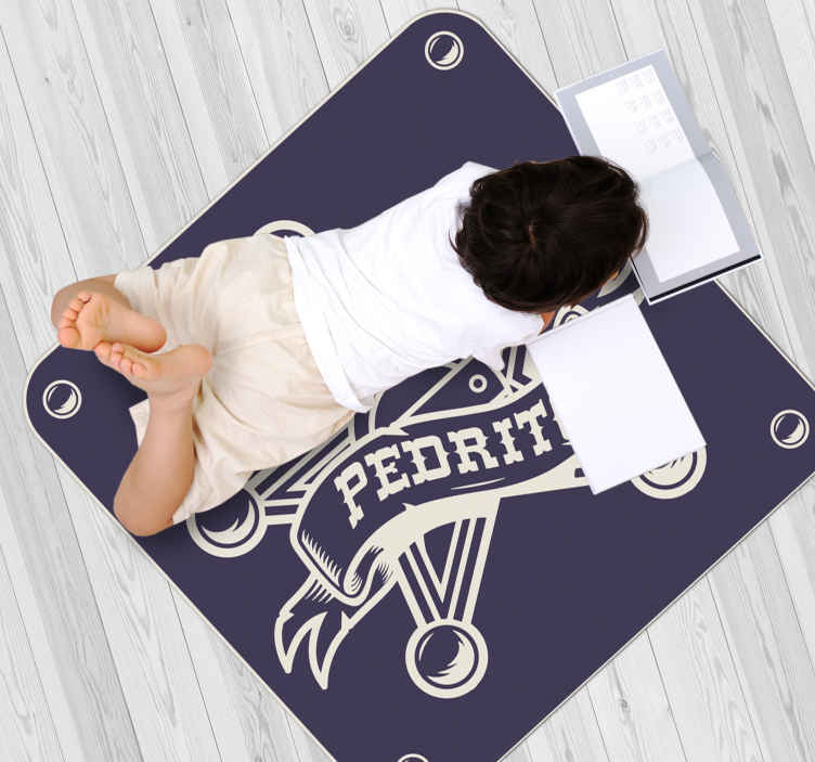 TenStickers. Sheriff with Name personalised vinyl rug. A perfect vinyl rug to decorate the floor space of kids It is design with iconic badge of a sheriff. It is easy to maintain.