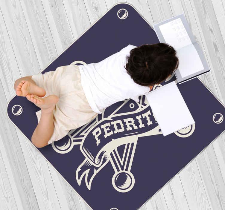 Tenstickers. Lensmann med navn personlig vinylteppe. Et perfekt vinylteppe for å dekorere gulvplassen til barn, det er design med ikonisk emblem fra en lensmann. Det er enkelt å vedlikeholde.