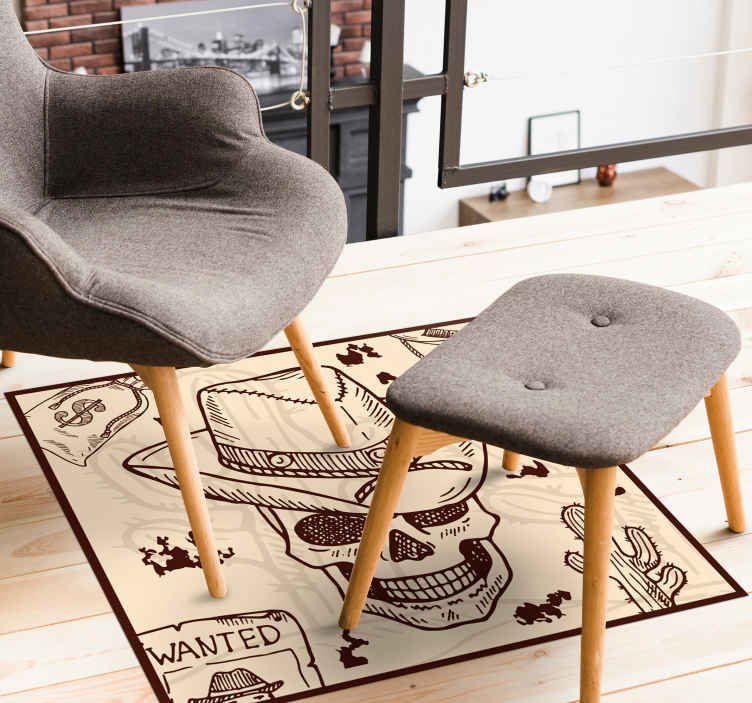 TenStickers. Western icons bedroom vinyl rug. Iconic cowboy vinyl carpet to enhance your space with the vibe of a country cowboy. It is made with top quality material.
