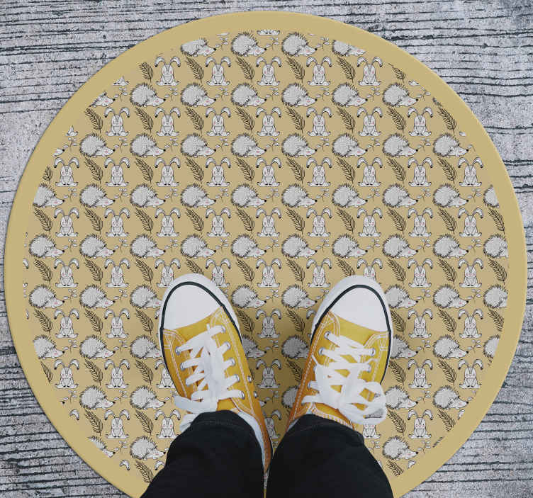 TenStickers. Porcupine and rabbits animal vinyl carpet. Beautiful vinyl rug with porcupine and rabbit designs on yellow colour background. It is easy to maintain and it quality is top.