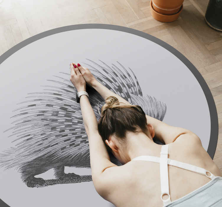 TenStickers. Porcupine art black and white animal vinyl carpet. Round tip-vinyl rug designed with amazing deign of an animal. It is made with top quality material and easy to maintain.