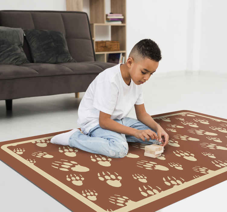 TenStickers. Porcupine footprint animal vinyl carpet. Fantastic animal vinyl rug with foot prints design on brown background. The product is easy to maintain and it quality is top.
