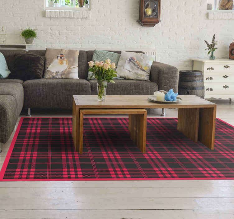 TenStickers. Christmas tartan pattern  stripes vinyl carpet. Christmas tartan pattern stripes vinyl rug. This special pattern rectangular carpet is made at your measure, easy to maintain and of high quality.