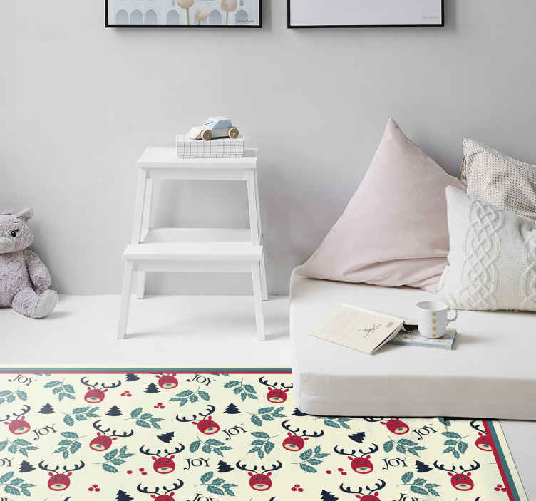 TenStickers. Joy and reindeer bedroom vinyl rug. Amazing rectangular vinyl rug with a reindeer design and ''Joy'' inscription.Easy to maintain, durable and of high quality.