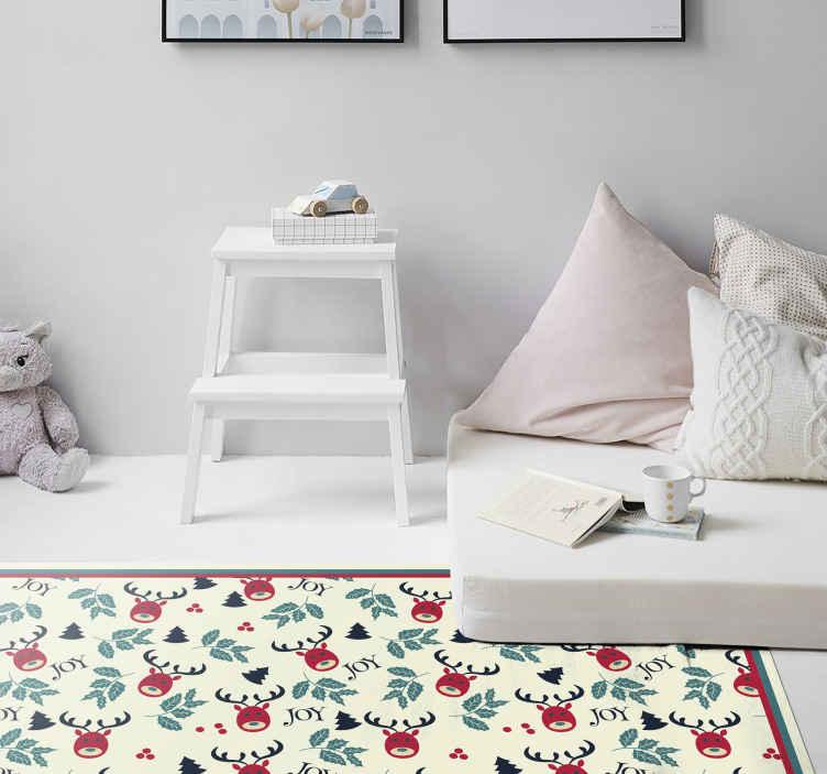 """TenVinilo. Alfombra vinilo dormitorio navidad con renos. Increíble alfombra vinilica habitación navideño con un diseño de renos y la inscripción """"alegría"""". Fácil de mantener ¡Envío a domicilio!"""