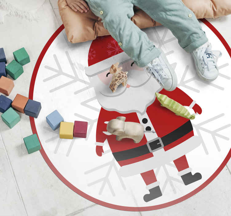 TenStickers. Santa Claus and HoHoHo bedroom vinyl rug. Round-tip rug design with Christmas Santa clause image print.  An ideal Christmas home decor if your are looking for a rug with a Christmas impression.