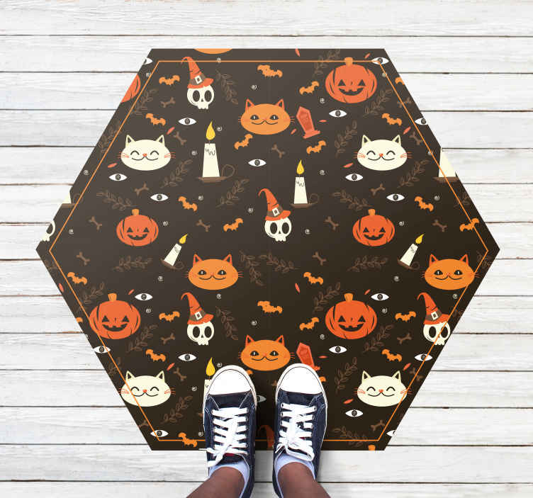 TenStickers. Frightful Halloween cat carpet animal vinyl carpet. Decorative hexagonal vinyl carpet with design feature of cats, pumpkins, skulls with hat, bones and grave etc. It is made of high quality material.