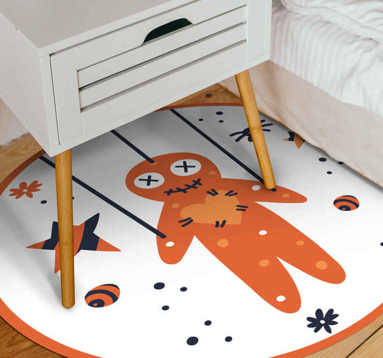 TenStickers. Halloween marionette smiling bedroom vinyl rug. Children bedroom vinyl carpet design featured with smiling marionette, it also has stars and other features. Easy to maintain and of high quality.