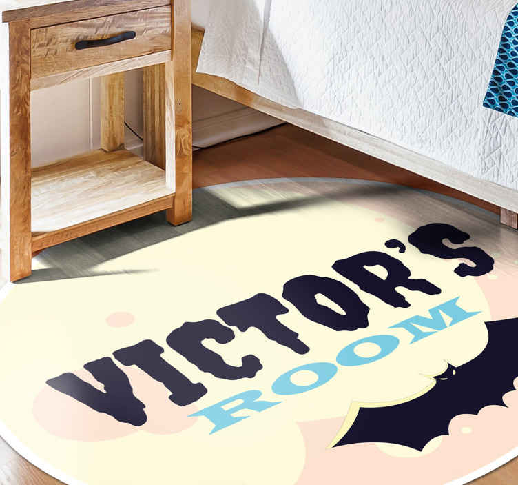 TenStickers. Personalized sign in a terrific background personalised vinyl rug. Scary sign pattern vinyl carpet to decorate any space for Halloween. The design is personalisable with any name of choice.