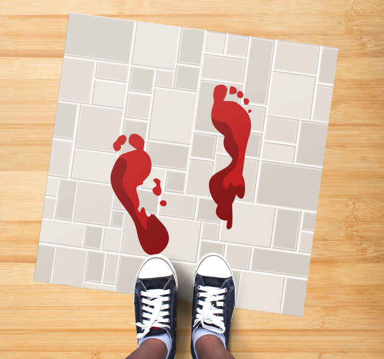 TenStickers. Bloody footprint square rug. Tile texture vinyl carpet design with bloody footprint.  This design is nice for an entrance, living room and other space.
