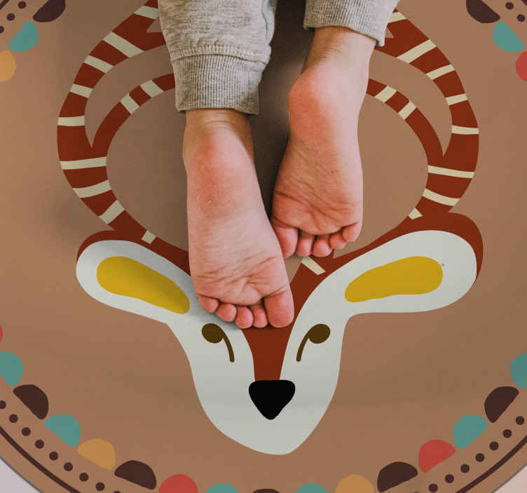 TenStickers. Autumn deer animal vinyl carpet. Ideal bedroom rug for children, it has the design drawing of autumn deer. Easy to clean, anti-allergic and made of best quality vinyl material.