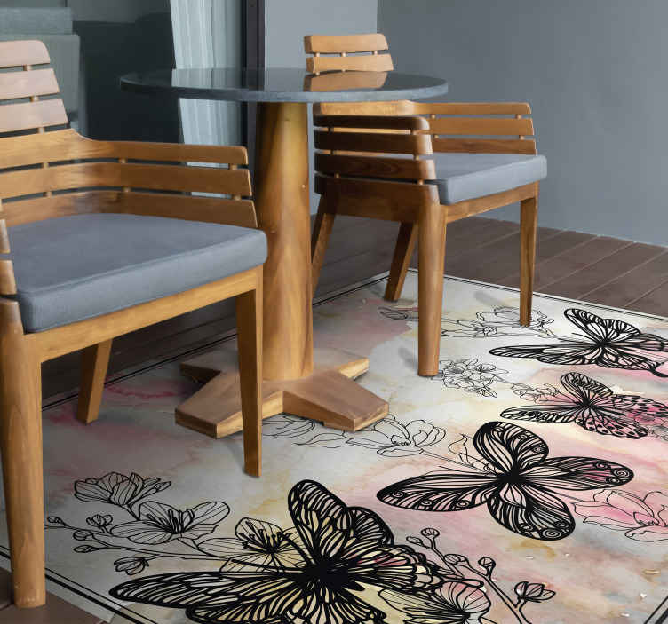 TenStickers. art butterfly animal mat. A stunning butterfly vinyl rug that will look incredible added to the decor of your home. Choose your perfect size today.