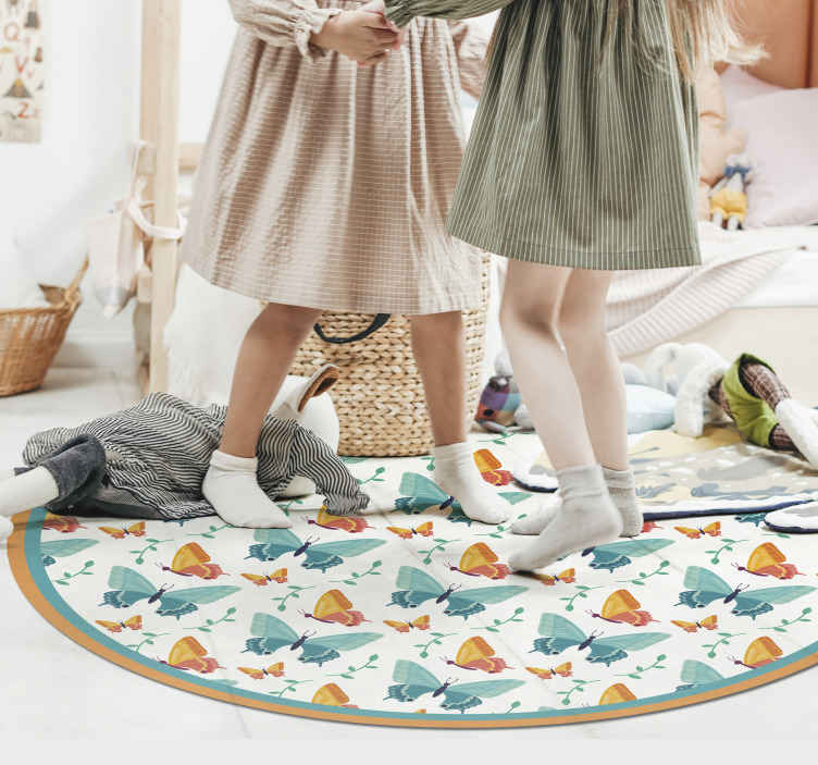 TenStickers. bicolour butterflies animal mat. The most beautiful butterfly vinyl rug to add to the floors of your home. Sign up to our website today for 10% off your first order.