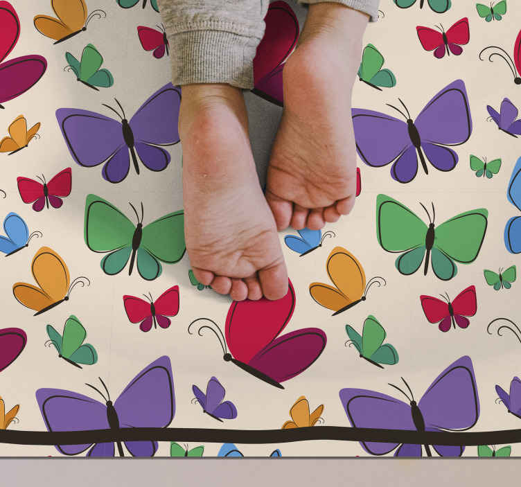 TenStickers. butterflies flying for kids animal mat. With the addition of a butterfly vintage rug to you kid room you will see such an improvement. Choose your perfect size.