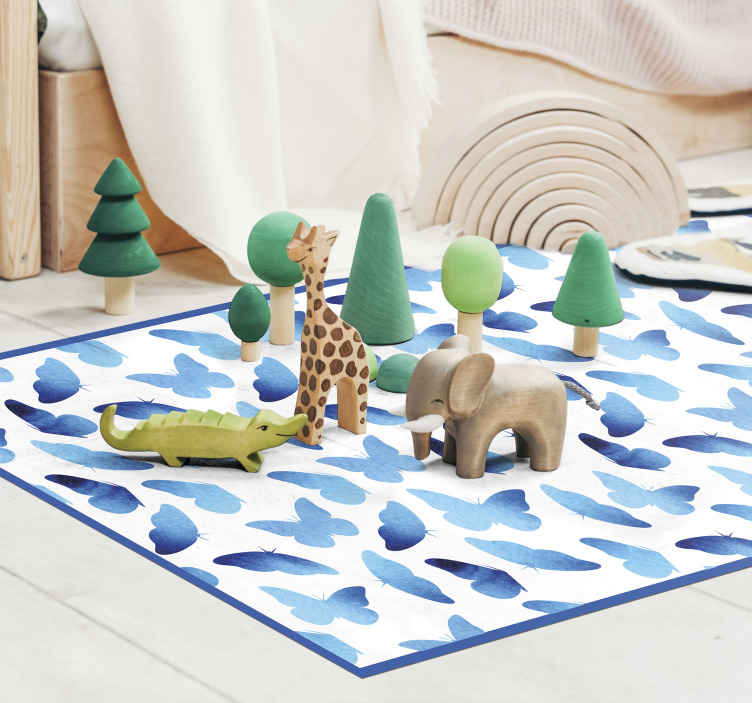 TenStickers. Painted butterflies animal mat. Blue tone butterfly vinyl carpet perfect for a modern space especially living room. It is original, durable and easy to maintain.