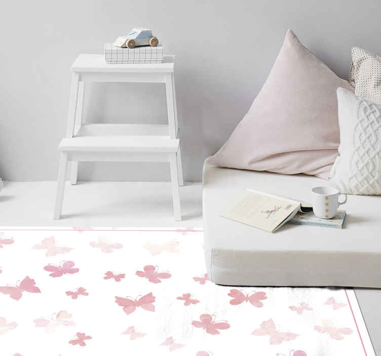 TenStickers. Pink butterflies pink carpet. Enhance the floor space of your kid's room with our pink color butterfly vinyl carpet . A fun and attractive colour for children.