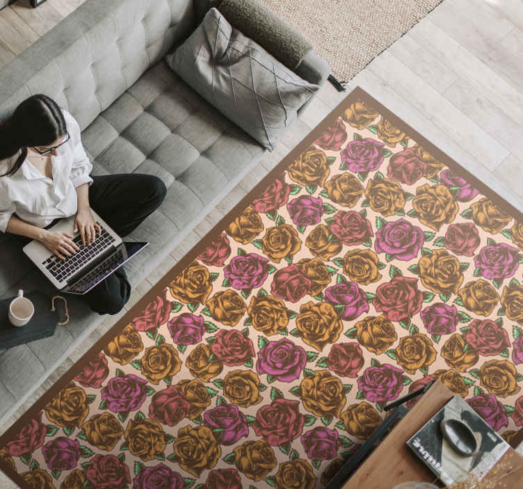 TenStickers. Colourful  flower rug. Retro colorful floral vinyl carpet suitable for a living room, bedroom and other space of desire. Original, durable and easy to maintain.