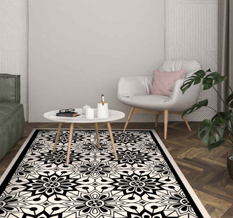 TenStickers. trompe l'oeil  contemporary rugs. Lovely ornamental pattern vinyl carpet made with best quality material. With our high quality vinyl carpet you would transform your space with class.