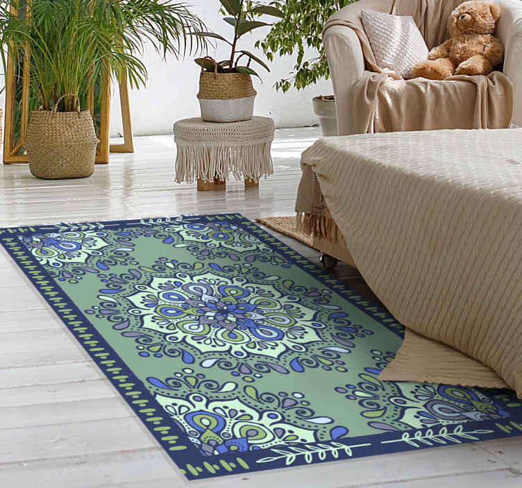 TenStickers. Faded green mandala mat. Green mandala vinyl rug that can be placed on any floor space you want. The mandala vinyl floor carpet is suitable for a hallway, living room, etc.
