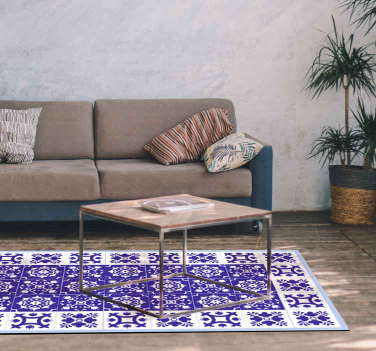 TenStickers. Lovely white and blue  tile mat. White and blue carpet vinyl carpet for home and other space. The design is patterned in style that you would love and admire on your space