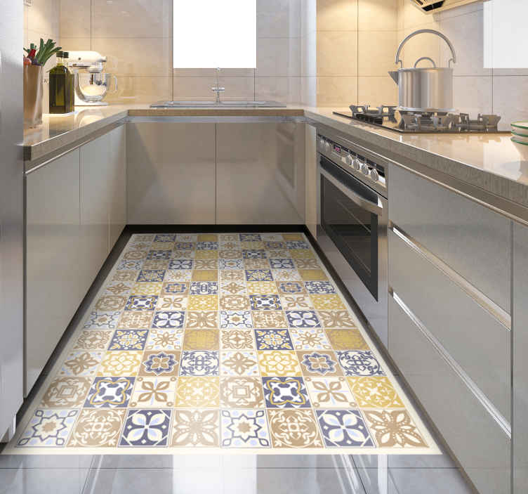 TenStickers. Limestone Spanish Tiles  tile mat. Vinyl carpet with geometric tile patterns. Fascinating rectangular ornamental tile rug for any space of choice! suitable for kitchen and other space.