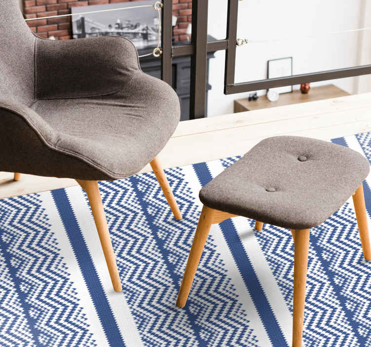 TenStickers. Simple blue  stripes rug. A vinyl carpet with classic design that depicts hand made blue and white patterned knitting. It is original, durable and easy to maintain.