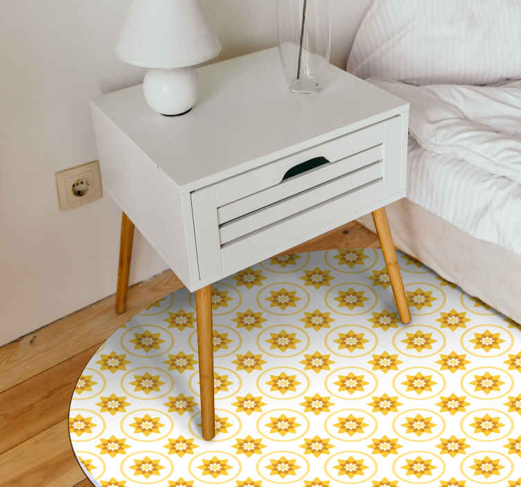 TenStickers. Sun  yellow carpet. Fantastic bedroom vinyl carpet for bedroom. The product is made with bright yellow sun design and it would be a  charming idea for kids' room.