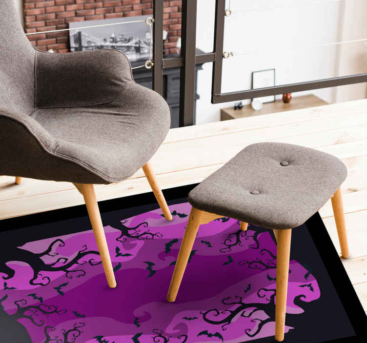 TenStickers. Twirly tree branches and bats vinyl rug halloween mats. Beautiful purple vinyl carpet design with Halloween features such as twirly trees and flying bats. Easy to maintain and made of high quality.