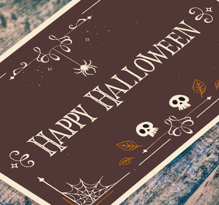 TenStickers. Happy Halloween with different pictures vinyl rug halloween mats. This featured pictures HAppy Halloween vinyl rug is perfect for your living room, hallway, and for any space of choice. Easy to clean.