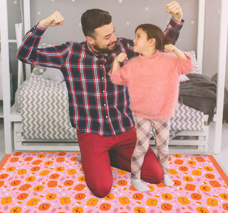 TenStickers. Cute pumpkins vinyl rug halloween mats. It's time to carve pumpkins for Halloween festival decoration and your rug is not left out. Purchase our multi coloured pumpkin vinyl carpet for home.