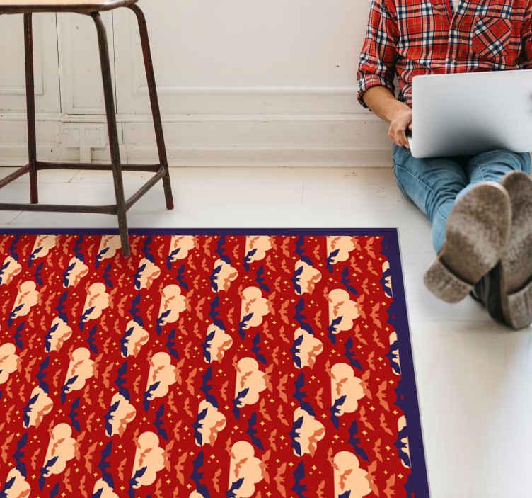 TenStickers. Vinyl vloerbedekking rood Vliegende knuppel met rood vinylkleed a. Vliegende vleermuizen met een rode achtergrond vinyl tapijt. Gemakkelijk schoon te maken en te onderhouden. Het is antislip en daardoor ook perfect voor de kinderkamer.