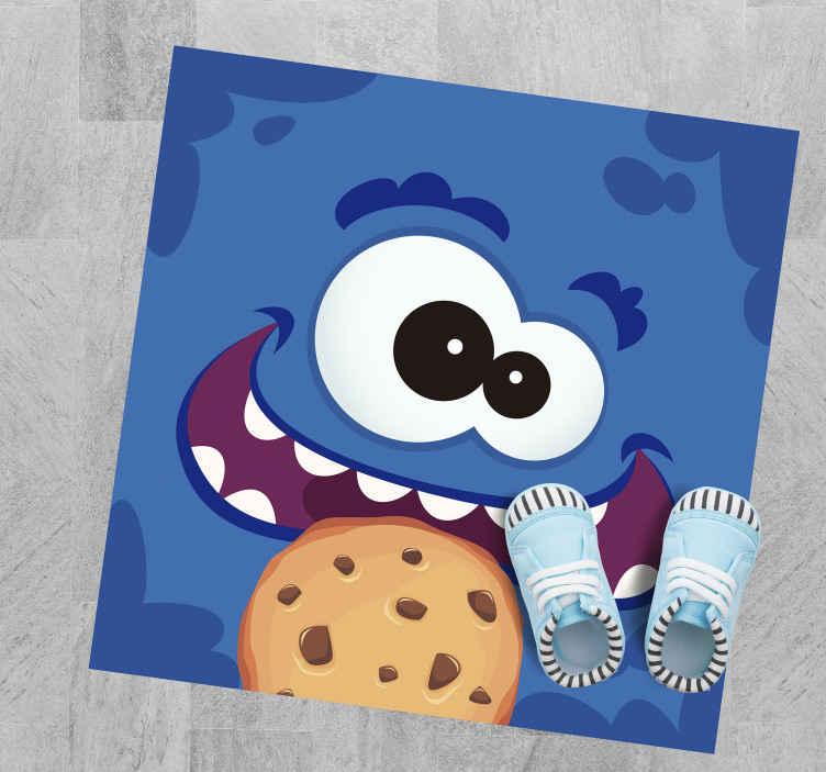 Tenstickers. Cookie monster barn vinylteppe. Denne søte barnteppedesignen har et stort blått monster som spiser en tegneseriekake! Anti-boble vinyl. Verdensomspennende levering.