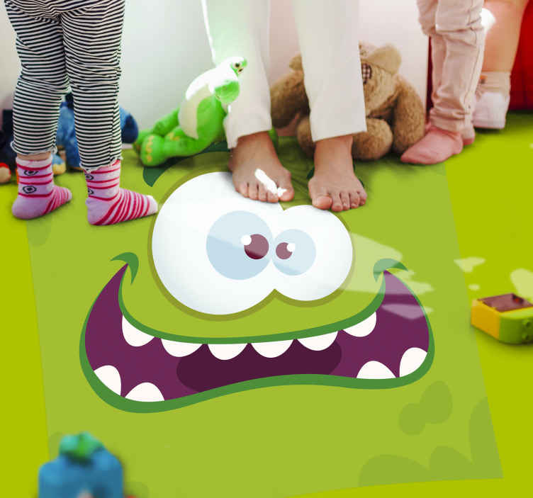 TenStickers. Monster green vinyl rug kids vinyl carpet. Funny vinyl rug with a monster. Perfect decoration for kids room. Easy to store and clean, made out of high quality vinyl.