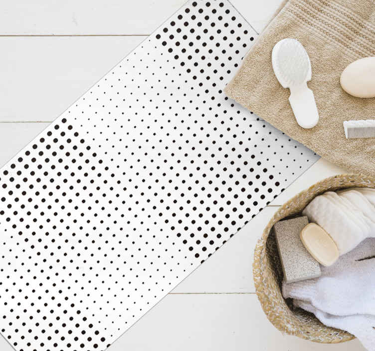 TenStickers. Black dots with lines white. Original dotted placemtas with a white background. It will serve as a perfect decoration for your kitchen. Easy to apply, high quality vinyl.