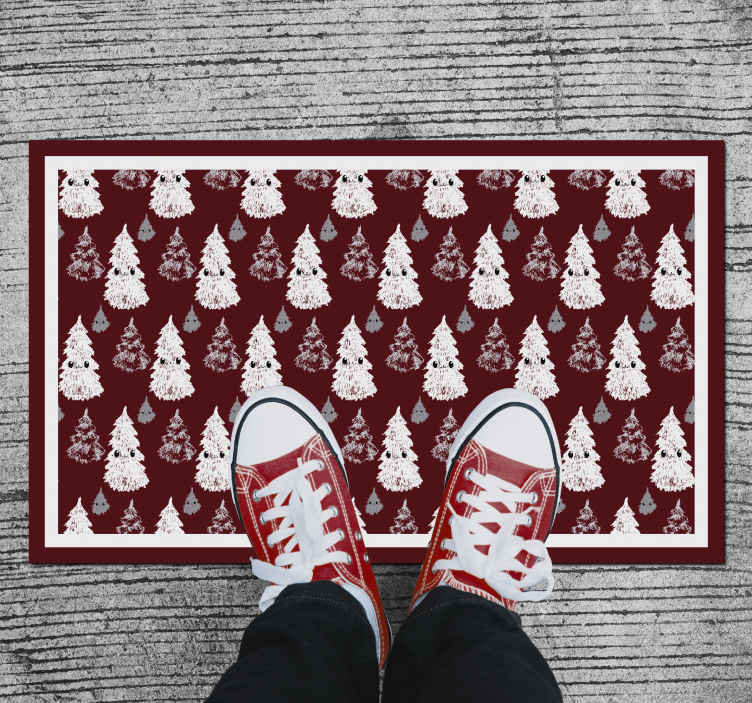 TenStickers. Christmas tree funny  Christmas rug. A Christmas themed vinyl rug that will bring so much cheer this festive season. Discounts available when you sign up to our website.