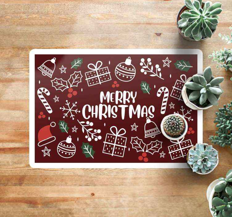 TenStickers. merry christmas funny vinylrugs green carpet. Funny Christmas vinyl rug which will serve perfectly as a decoration in your salon. It is easy to clean and store and made of high quality vinyl.