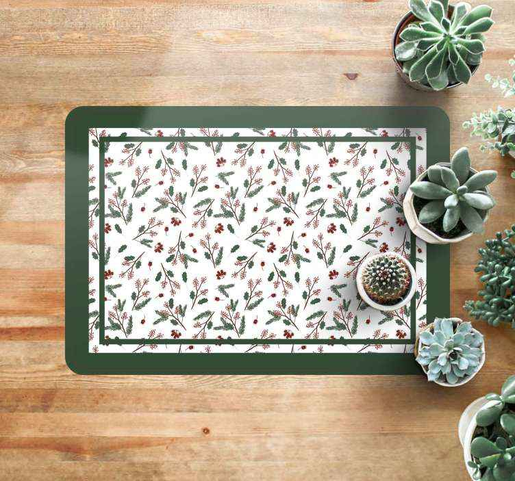 TenStickers. floral pattern merry xmas Christmas rug. Beautiful floral Christmas rug, perfect for decorating salon during Christmas time. Easy to clean and store, made of high quality vinyl.