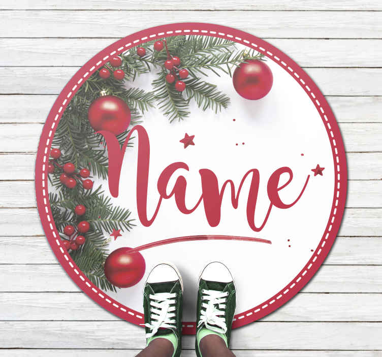 TenStickers. merry christmas personalised name Christmas rug. This featured images Christmas living room rug is perfect for your living room, hallway, and any space you choose. Home delivery