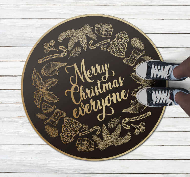 TenStickers. merry christmas everyone Christmas rug. This featured images Christmas entrance hall black carpet for your living room, hallway, and any space you choose. Home delivery!