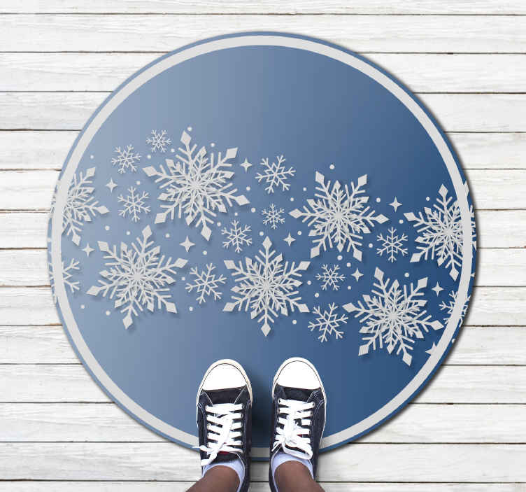 TenStickers. elegant blue and white vinylrugs Christmas rug. This featured images Christmas living room carpet is perfect for your living room, hallway, and any space you choose. Home delivery!