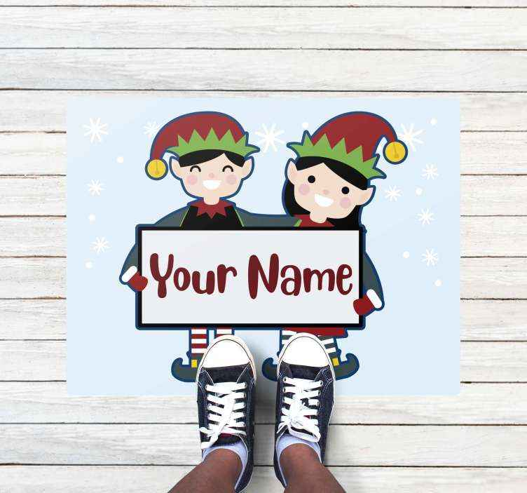 TenStickers. christmas elves personalised with name Christmas rug. Funny vinyl rug with elves, perfect for decorating the corridor during Christmas time. Easy to clean and store, made of high quality vinyl.
