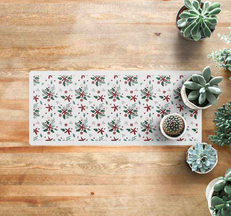TenStickers. beautiful christmas pattern  entrance hall rug. Beautiful vinyl rug with Christmas elements, perfect to place it in the salon. Your guests will be amazed with the easthetic decoration of your house.