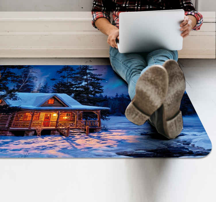 TenStickers. Winter land with cottage Christmas rug. This featured images Christmas event carpet is perfect for your living room, hallway, and any space you choose. Home delivery!