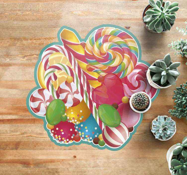 TenStickers. Wrapped candy Christmas rug. Beautiful vinyl rug with candies, perfect decoration for kids room or candy lovers. Made of high quality vinyl, easy to clean.